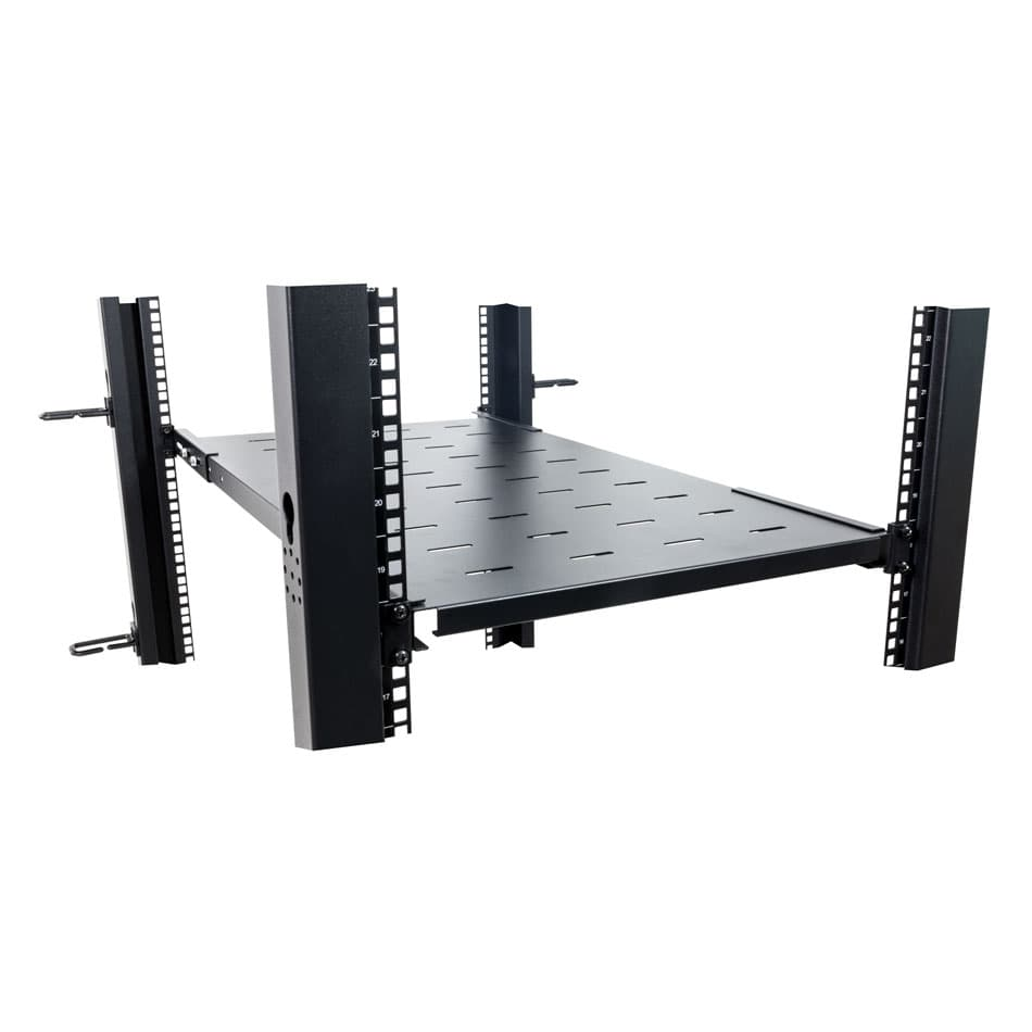 1U Vented Rack Shelf, Fixed, Adjustable, 650 mm